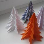Ёлка -оригами к новому году из бумаги